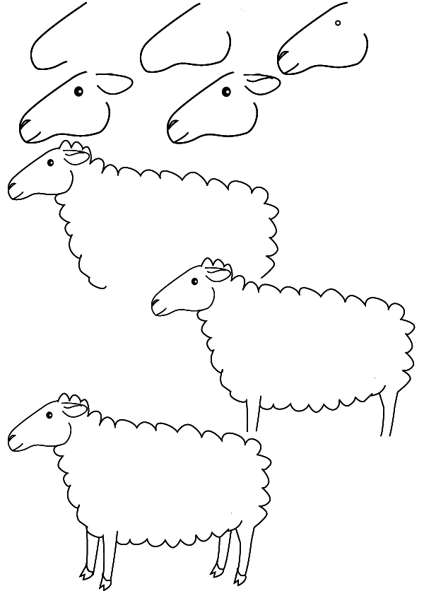 Apprendre a dessiner les animaux de la ferme - Mouton a dessiner ...