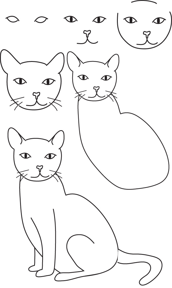 Dessin chat - Modele dessin chat facile ...