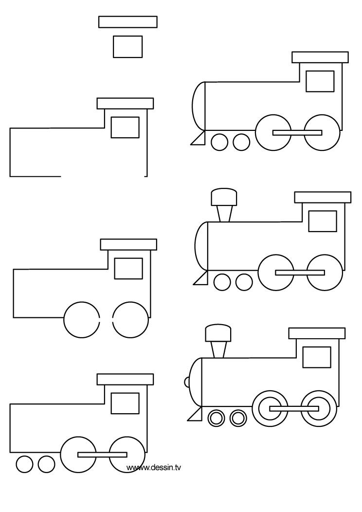 Comment dessiner une locomotive - Locomotive dessin ...