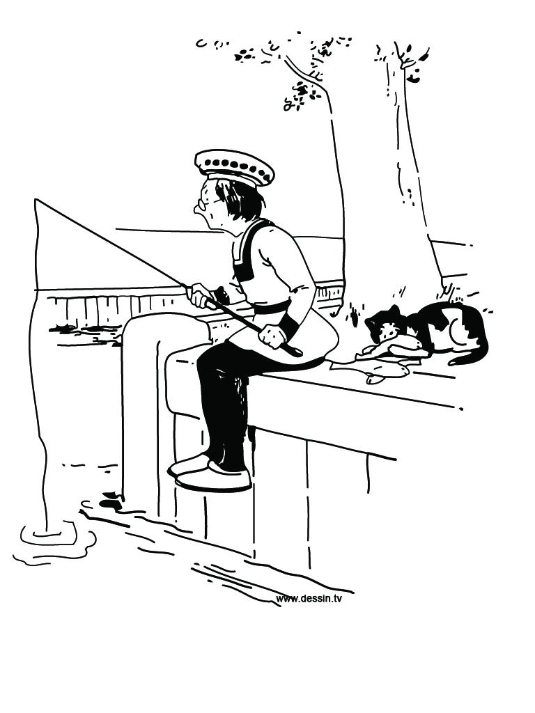 coloriage pêcheur