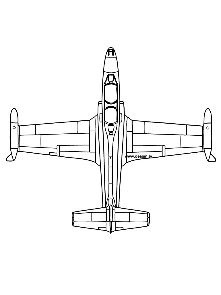 coloriage avion-vu-de-dessus