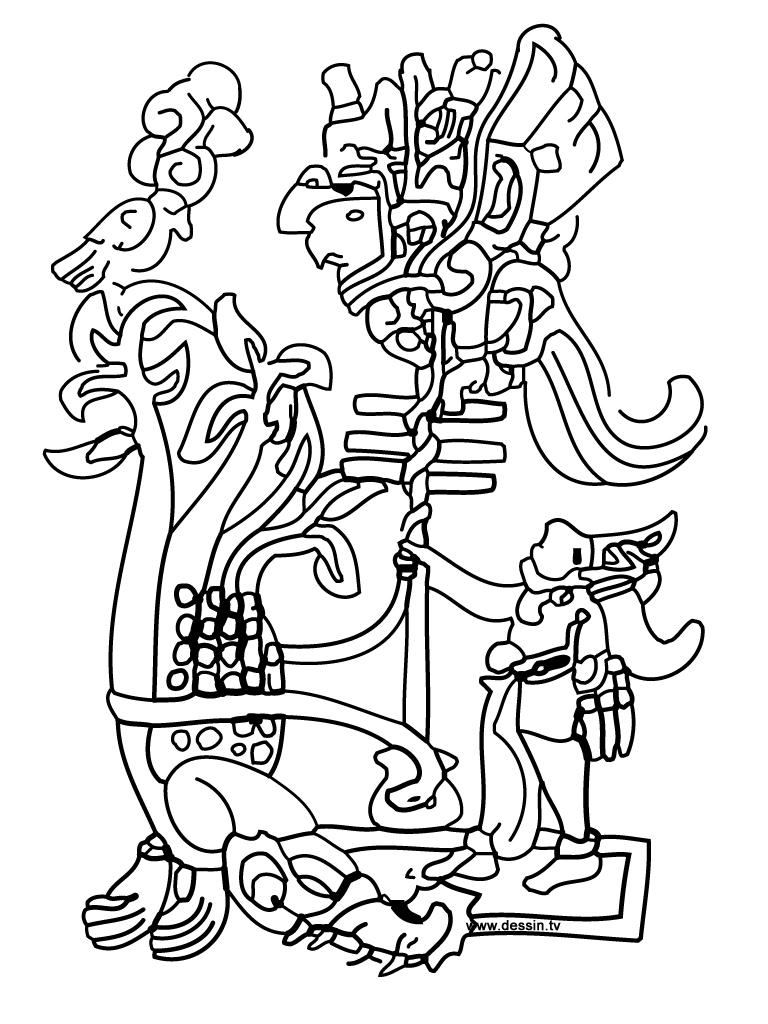 coloriage dieux-aztèques