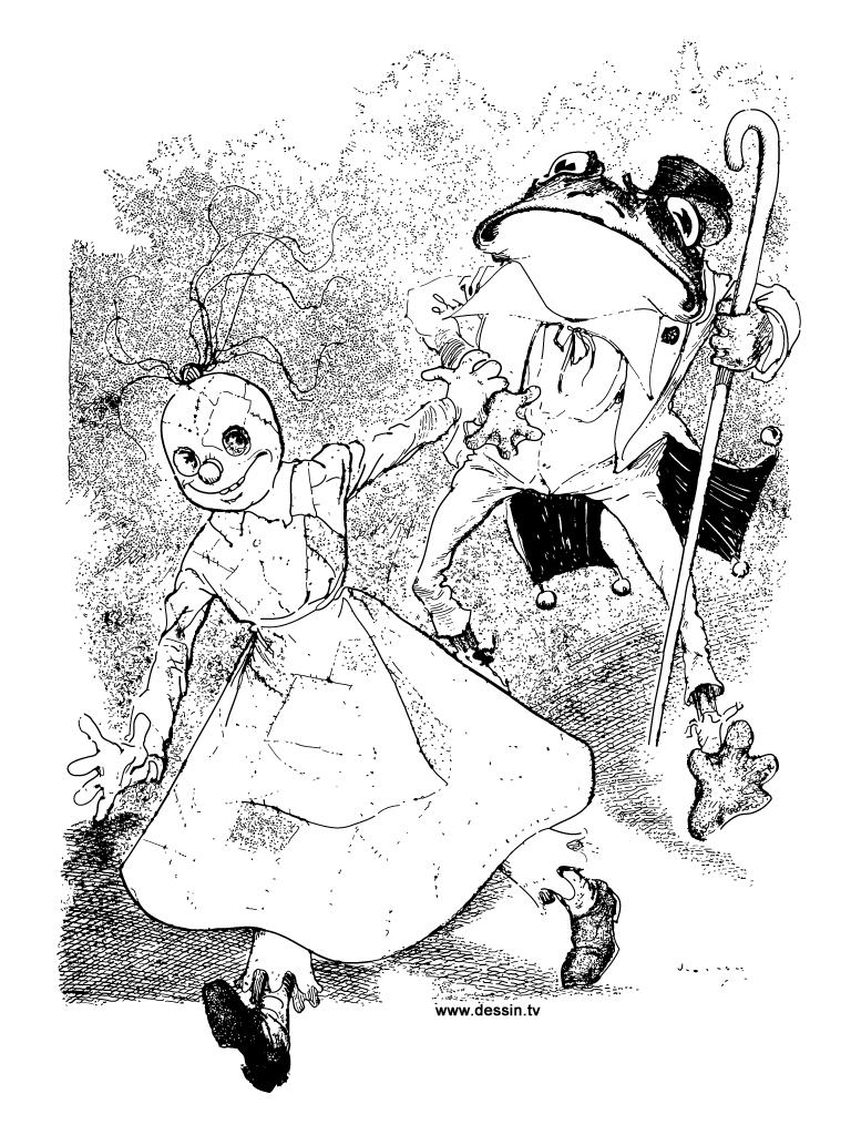 coloriage poupée-de-chiffon-et-monsieur-grenouille