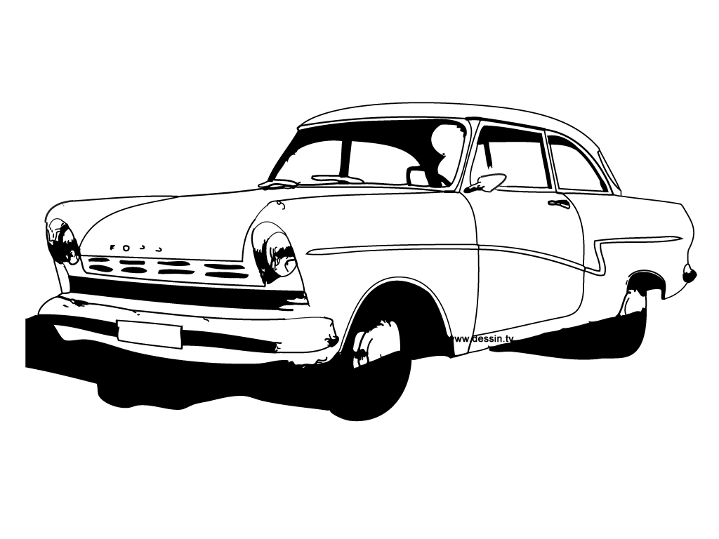 coloriage vieille-voiture-Ford