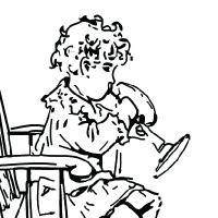 Coloriage petite fille jouant de la trompette