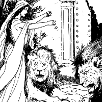 Coloriage princesse nourissant des lions