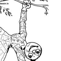 Coloriage poupée de chiffon qui grimpe aux arbres