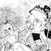 Coloriage poupée de chiffon et monsieur grenouille