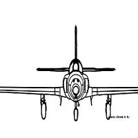 Coloriage avion vu de face
