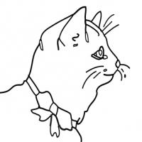 Coloriage chat avec un ruban